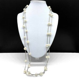 Park Lane Faux Pearl Beaded Silver Chain Necklace